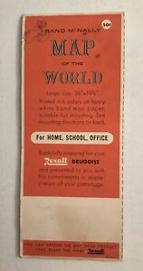 """Vintage 1958 Rand McNally Map of the World 36"""" x 19.5"""" Rexall Druggist Mountable"""