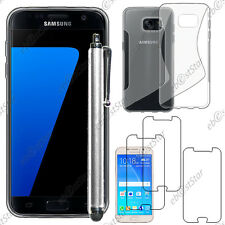 Housse Etui Coque Silicone Transparent Samsung Galaxy S7  + Stylet + 3 Films