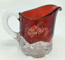 Ruby Red Flash Glass Souvenir Pitcher To Mother from Perry Dec. 25 1903 Leaf