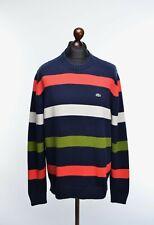 """Men's Lacoste Crew Neck Cotton Blend Jumper Blue Striped Size 6 / XL P-P 23.5"""""""