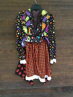 Womens Handmade Halloween Costume Clown Pumpkins Colorful Set Size Small