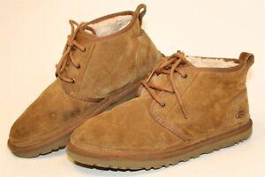 UGG Australia 3236 Neumel Mens 10 43 Brown Suede Sheepskin Chukka Ankle Boots
