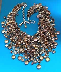 BEAUTIFUL ARTIST MARY DARWALL BOLD STATEMENT GOLD & BRONZE PEARL BEADS NECKLACE