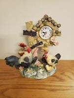 "CHICKEN CLOCK TABLE TOP ROOSTER, HEN, CHICKS 9"" BY 9"""
