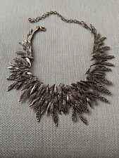 New Leafy Rustic Zara Gems Statement Necklace In Gold