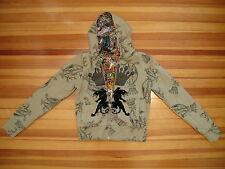 Christian Audigier : SM : Army Green Jacket Hoodie Monogram Tattoo Crown Panther
