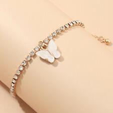 Charm Zircon Bangle Bracelet Jewelery European 18K Gold Cute White Butterfly