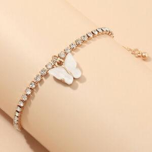European 18K Gold Cute White Butterfly Charm Rhinestone Bangle Bracelet Jewelery