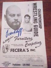 RIP Autographed Ivan Koloff Wrestling program WWF NWA 1970 Mongol Strongbo River