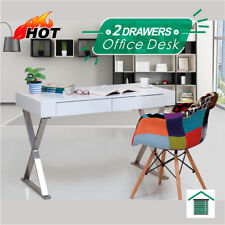 New White Hi High Gloss Study & Office Desk w/2 Drawers