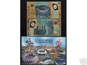 MALAYSIA 50 RINGGIT P-45 1998 UNC COMMEMORATIVE COMMONWEALTH GAME POLYMER+FOLDER