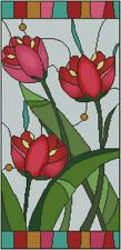 Rojo Tulipanes Vidriera Punto de Cruz Kit Completo No.14-166