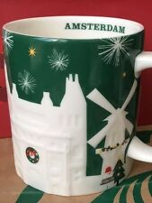 NEW Starbucks 2015 AMSTERDAM Christmas Green relief 18 oz mug NEW!
