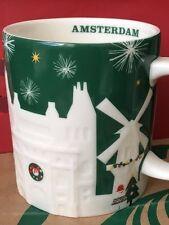 NEW Starbucks 2015 AMSTERDAM Christmas Green relief 18 oz mug NEW!