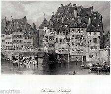 Strasbourg: Blanchisseuses sur le Rhin. Grande gravure acier + Passepartout.1878