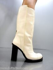 MORI MADE IN ITALY KNEE HIGH BOOTS STIEFEL STIVALI BIKER LEATHER BEIGE NUDE 40