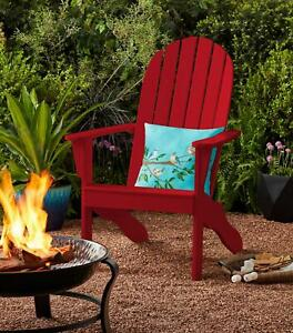 Wood Outdoor Adirondack Chair Outdoor Patio Lounge Deck Reclined Bench Porch