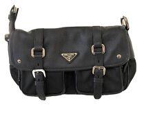 RARE PRADA TESSUTO NYLON/ Leather BLACK Shoulder Bag
