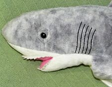 "25"" Great White SHARK Plush Stuffed Fish Grey Large with Felt Teeth Cuddly Toy"