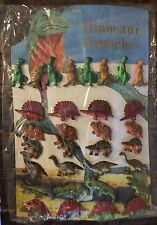 VINTAGE 32 Dinosaur Brooches Pins On Display Board New Old Stock