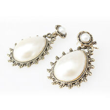 Vintage Classic Carved Bronze Big White Drop Pearl Earrings Ear Earbob Stud New