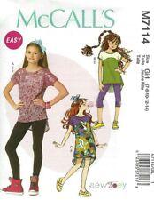 McCALL's SEW PATTERN M7114 GIRLS & PLUS SIZE GIRLS DRESS TOP LEGGING