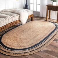 Oriental Handmade Jute Rug Runner Large Area Fine Work Oval Shaped Area Rug