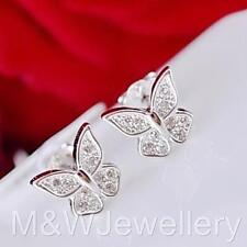 925 Sterling Silver Rhodium Plated BUTTERFLY Stud Earrings With Zirconia