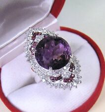 13.44 CTW AMETHYST, WHITE SAPPHIRE, RHODOLITE RING #7 WHITE GOLD over 925 SILVER