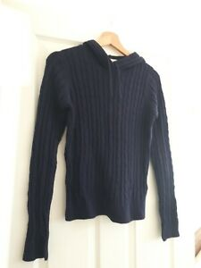 Navy Cotton Hooded Jumper Size 8