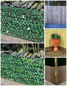 Outdoor Garden Trellis Screening Fencing Bamboo Reed Willow Artificial Ivy Leaf
