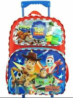 """New Toy Story 4 Rolling Backpack Wheels Back to School Luggage Bag 16"""""""