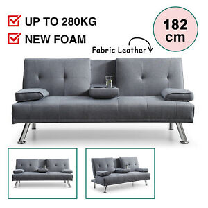 Adjustable Sofa Bed Recliner Fabric Futon Lounge Couch 3 Seater Cup Holder Grey