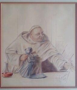 """Original pencil drawing by Czech artist  """"Drunken Priest"""", WW2 era"""