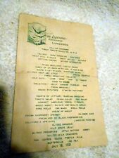 VTG Restaurant Menu The Lakeside Eaglesmere ( Pennsylvania??) 1931