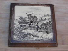 VICTORIAN MINTON WILLIAM WISE TILE IN WOODEN STAND HOTPLATE CATTLE