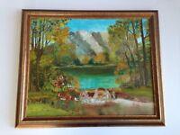 Vintage Oil on Canvas Board Framed Pronghorn Deer Antlers Hunting Cabin Mancave