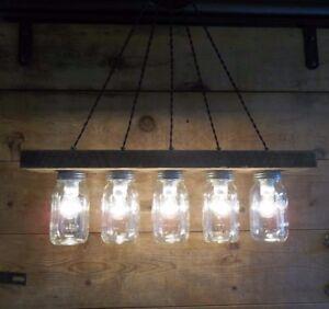 "FARMHOUSE CHANDELIER Barn Wood Light Bar 5 Mason Jar Light 28""L Light Fixture"