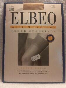 ELBEO Medium Support Sheer Magic Silky Stockings Cafe Creme size large BNIP