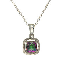 Sterling Silver Cushion Cut Mystic Topaz Pendant With Fine Gauge Chain of 46cm