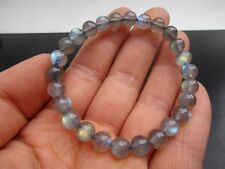 Natural Labradorite Grey Moonstone Blue Light Clear Bead Bracelet AAA 7mm