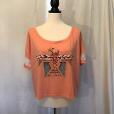ROXY Sz S Orange Native Eagle Print  Tee Lace Short Sleeves Top