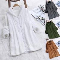 Women Long Sleeve Zip Up Casual Fluffy Warm Jacket Coat Plain Outwear Tops Plus