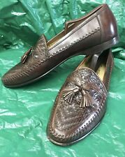 Mens Santoni Dress Loafers Soft Calf Skin With Crocodile Skin Accents Size 9 D
