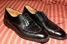 MEZLAN CROCODILE shoe hand-made derby lace up in BLACK 9