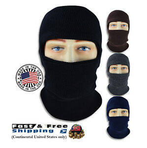 Knit ONE HOLE Full Face Mask Ski Hat 2 Layer Balaclava Ninja Cap USA Made NEW