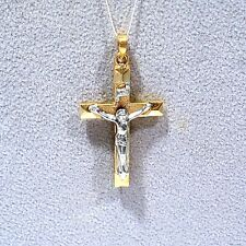 Solid 14K Yellow Gold & White Gold Crucifix Cross Pendant