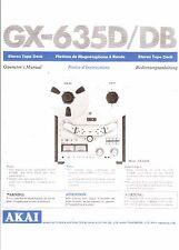 AKAI Manuel d'Utilisation User Manual Owners Manual pour gx-635 D/DB