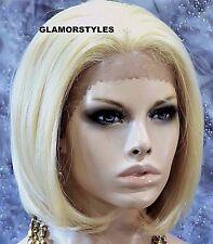 "19"" Bob Human Hair Blend Bleach Blonde Lace Front Wig Straight Hair piece #613"