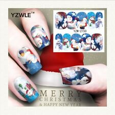 Nail Art Water Decals Stickers Christmas Santa Star Snowman Snow (A150)